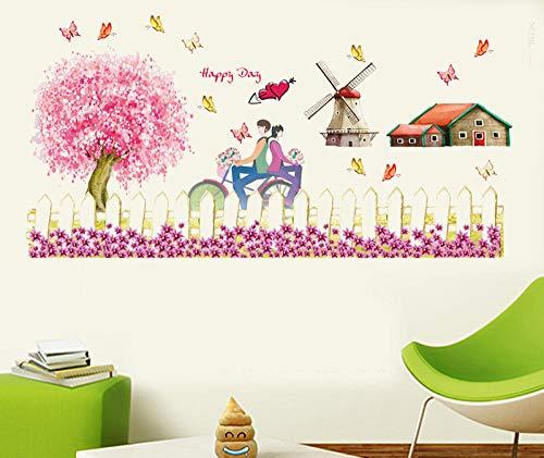 SUNER-EUR Romantische kersenbloesem hek plint stickers slaapkamer woonkamer veranda decoratieve muur stickers