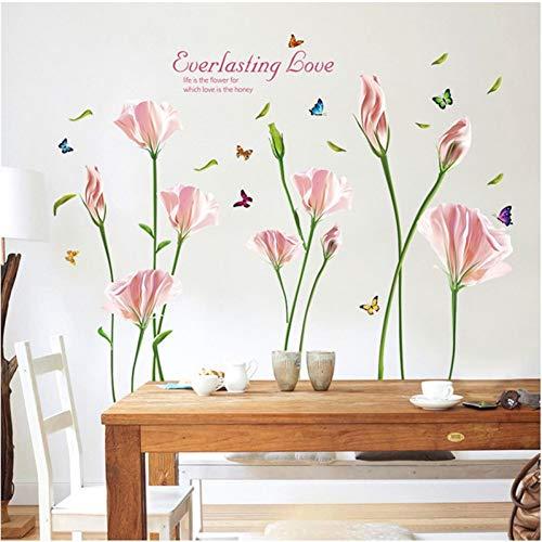MWLSW Sticker Mural Rose Pourpre Lily Stickers Muraux pour La Chambre Décoration de La Maison Fleur Plan Mural Fenêtre Amovible DIY