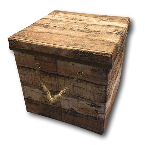 Caja de almacenaje Plegable con Tapa y Asa, cuerda de plástico en color de madera de estilo Retro, marrón, klein