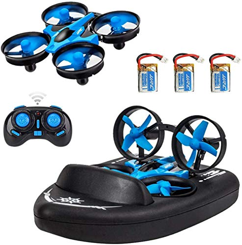 TDOYO 2.4G Quadcopter, 3 En 1 Mini RC Drone Control Remoto Modo Coche/Barco/Quadcopter con 360 ° Flips Stunt Modo Sin Cabeza, Aerodeslizador De Simulación para Niños Juguetes Regalos,Blue