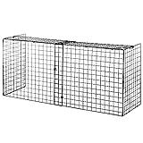 HOMCOM Protector de Chimenea con Longitud Ajustable Barrera de Seguridad para Estufa con Alambre de Metal 81,5-160x44x68 cm Negro