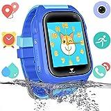 Reloj inteligente para niños con rastreador de GPS para niños y niñas IP67 Reloj inteligente a prueba de agua Teléfono con chat de voz SOS Juego de cámara Relojes Suministros de regreso a la escuela Regalo para niños (Azul) (GSM solamente)
