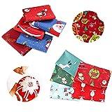 Wondsea - Confezione da 5 pacchi di tessuto di cotone di Natale (50 x 50 cm) e 5 confezioni (24,9 x 24,9 cm) fai da te in cotone per trapuntatura fai da te per cucito, patchwork, confezioni regalo