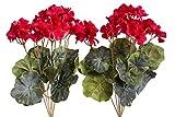 Evergreens künstlicher Geranienbusch mit 7 Stielen und 3 kleinen und 4 größeren Blütenköpfen (2 Stück) (rot)