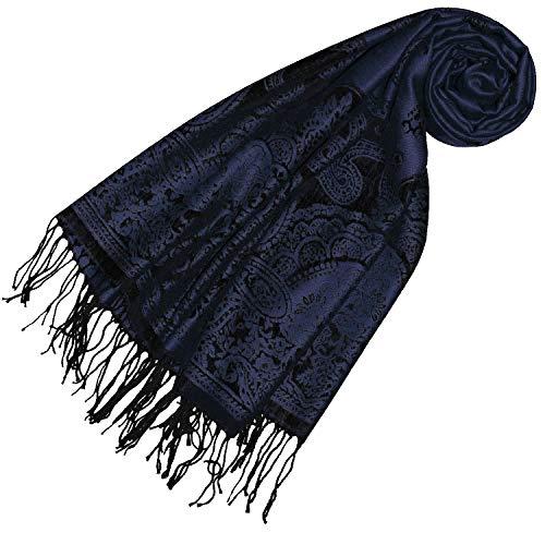 Lorenzo Cana Pashmina Schal Schaltuch jacquardgewebt Paisley Muster 70 cm x 180 cm Tuch Naturfaser Marineblau Schwarz 93319