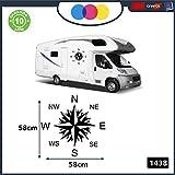 2 Autocollants pour camping-car - Rose des vents - 57 x 57 centimètres - Autocollants pour camping-car caravane caravane - Accessoires, Stickers, Decal