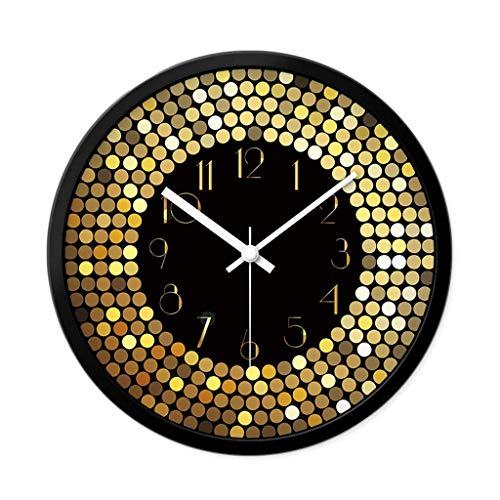 SCJ Reloj de Pared Reloj de Pared de Moda para el hogar Arte Reloj de Pared Redondo silencioso Digital Creativo Decoración de Pared para Sala de Estar Oro (Tamaño: 30 cm)