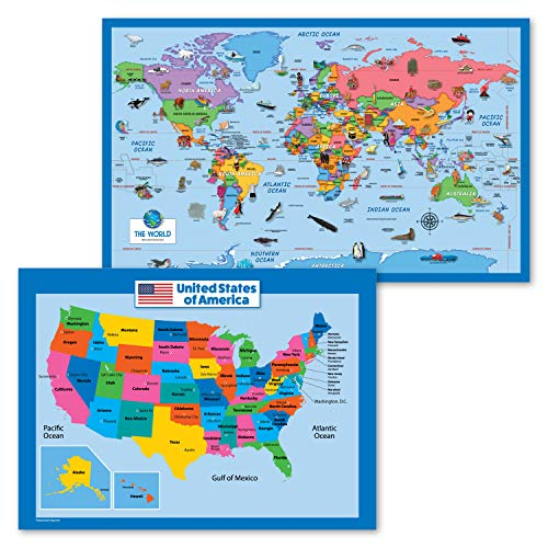 2 Pack - World Map Poster for Kids [Illustrated] + Simplified United States Map (Laminated, 18' x 29')