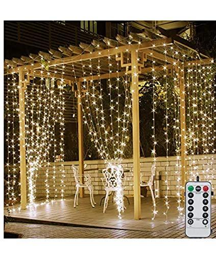 Berrywho 3m x 3m Blanco cálido Luces de Navidad de la Cortina de Hadas Luces de Cadena USB con alimentación con 8 Modos de Control Remoto para el Dormitorio de Navidad decoración del Partido