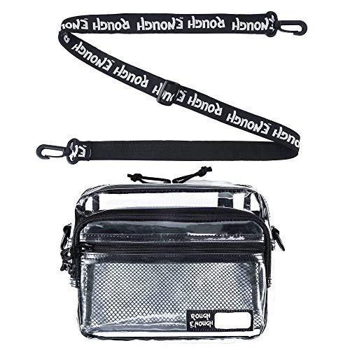 Rough Enough TSA transparente Mode Crossbody Schulter Streetwear NFL klare Stadion Tasche Daypack mit Reißverschluss Mesh-Gurt Pocket Name Tag für Outdoor-Reise-Universität Frauen Mädchen genehmigen