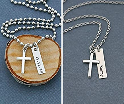 """Men's Cross Necklace – DII ABC - Boys Confirmation Gift – Baptism Gift - Handstamped Handmade – 1 x 1/4"""", 25.4 6MM Silver Bar – Customized Chain Length – 1 Day Shipping"""