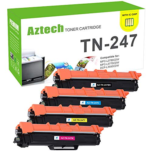 Aztech Kompatibel Toner Cartridge Replacement für Brother TN-247BK TN247BK TN-243BK TN247 TN243 für Brother MFC-L3750CDW MFC-L3770CDW DCP-L3550CDW HL-L3230CDW Toner Brother MFC-L3730CDN HL-L3210CW
