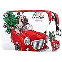 コスメティックバッグトラベルトイレタリー 毎日のポータブルジッパークロージャーメイクアップバッグ,パグ犬赤い車のトラックのクリスマスツリー