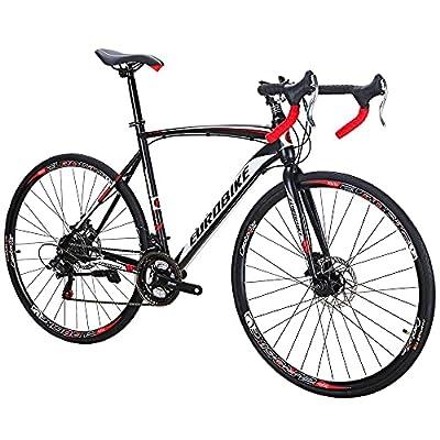 Eurobike Road Bike EURXC550 21 Speed Dual Disc Brake Bicycle 54 cm Frame 700C Spoke Wheels Road Bicycle Black White 30