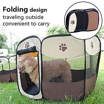 Tineer Portable Pet Cat Cage pour Chien Niche Chenil Tente Lit Parc d'enfant Camping de Plein air Pliable Maison de Caisse de Chien de Voyage Playpen (S:72×72×45cm, Marron)