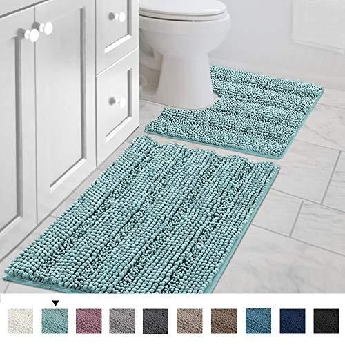 Original Striped Luxury Shaggy Bath Mat, Super Absorbent Water, Non-Slip, Machine-Washable, Soft and...
