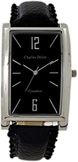 Charles Delon Mens Quartz Watch, Analog Display and Leather Strap 4636 GPBB