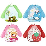<span class='highlight'><span class='highlight'>Discoball</span></span> Baby Bibs 4 Pcs Unisex Feeding Bib Waterproof Long Sleeves Toddler Apron Weaning Bibs for 6 Months to 3 Years Old