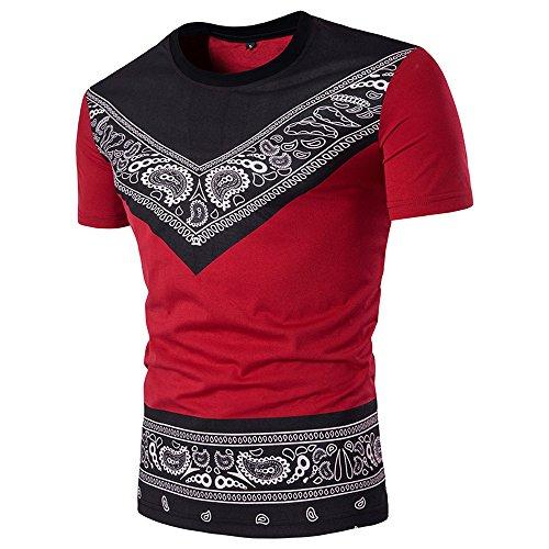 BURFLY KurzarmT-Shirt Herren, Herren Sommer Casual Fashion African Print O Hals Pullover Kurzarm T-Shirt Top Persönlichkeit Ethnic Print Kurzarm T-Shirt (M, Rot)