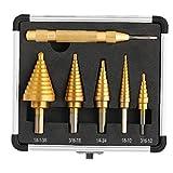 Step Drill Bit Set, HSS 4241 Set A Gradino Cono Drill Bit con Storage Case in Alluminio, ad Alta velocità di Acciaio Punte Step Drill con Centro Automatica Punzone per Fai da Te in plastica,
