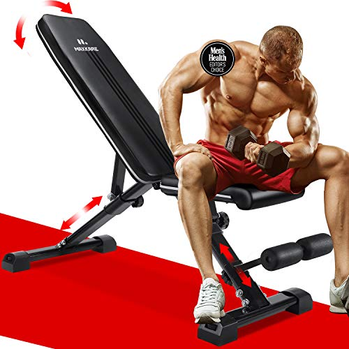 MaxKare 5-in-1 Weight Bench Adjustable Workout | 882 lbs Capacity Foldable Incline Decline Flat Exercise | 7+3+2 Positions | Folding for Home Gym