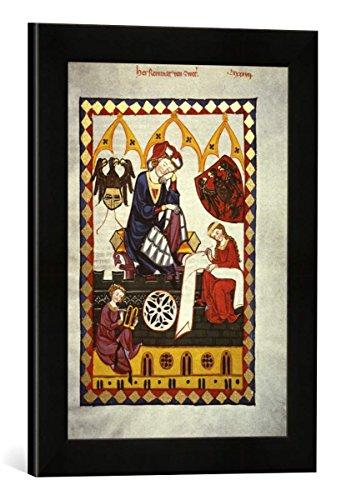 Gerahmtes Bild von Zürich Buchmalerei Reinmar von Zweter/Codex Manesse, Kunstdruck im hochwertigen handgefertigten Bilder-Rahmen, 30x40 cm, Schwarz matt