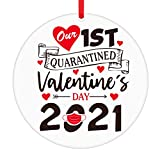 PETCEE First Quarantined Valentines Day Ornaments,2021 Face Mask Commemorative Ornament Keepsake for Her Him,Valentines Quarantine Ornaments Gifts for Girlfriend Boyfriend Wife Husband