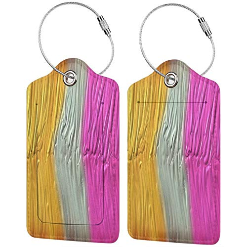 FULIYA Set of 2 Secure Luggage Tags High-end Leather Suitcase Luggage Tags Business Card Holder/Travel ID Bag Tag,Paint, Lines, Thick, Bright
