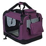 WOLTU HT2026vl Hundebox Hundetransportbox Auto Transportbox Reisebox Katzenbox mit Hundedecke Faltbar 60x42x42cm, Violett