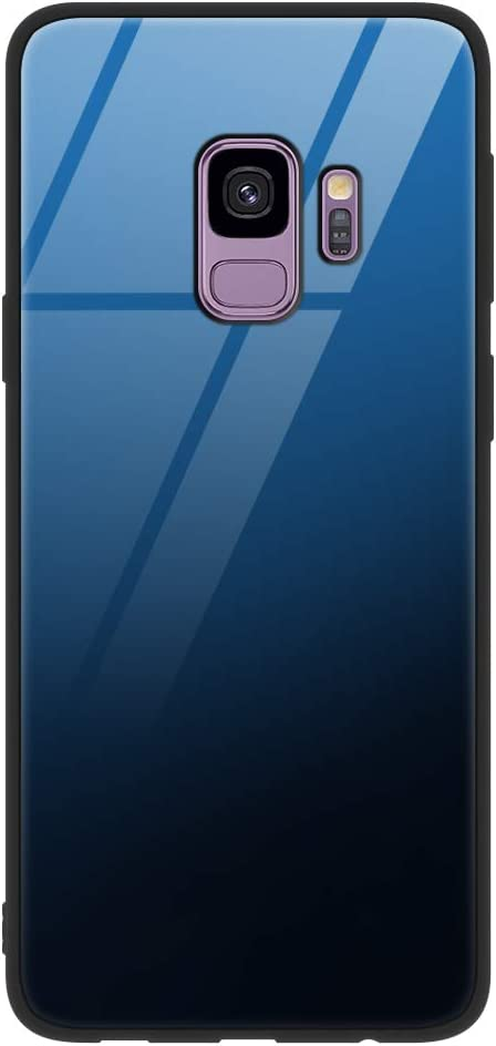 Eouine Samsung Galaxy S9 Case, [Anti-Scratch] Shockproof Patterned Tempered Glass Back Cover Case with Soft Silicone Bumper for Samsung Galaxy S9 Smartphone (Blue)