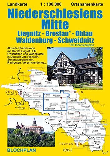 Landkarte Niederschlesiens Mitte: Liegnitz - Breslau - Ohlau - Waldenburg - Schweidnitz; im Maßstab 1:100.000: 2