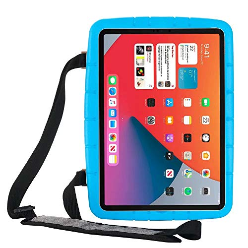 Lfdygcd Kids Case for iPad 10.2, Shockproof Cover with Kicktand and Strap for iPad 7th/8th Gen iPad Air 3rd iPad Pro 10.5 Blue