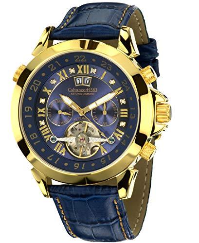 Calvaneo 1583 Astonia 'Luxury Blue GOLD' Automatikuhr Kalenderkomplikation