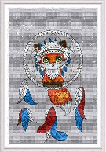 ZQADTU Punto de Cruz,DIY 11CT Estampado Bordado Kits patrón preimpreso Atrapasueños Fox 16x20 pulgadasadecuado para la decoración del hogar para niños o Adultos Principiantes(40x50cm)