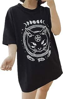 UROSA Ms. Gothic Moon Phase Witchcraft Cat Print Punk Harajuku Short Sleeve Casual Top T-Shirt 2019