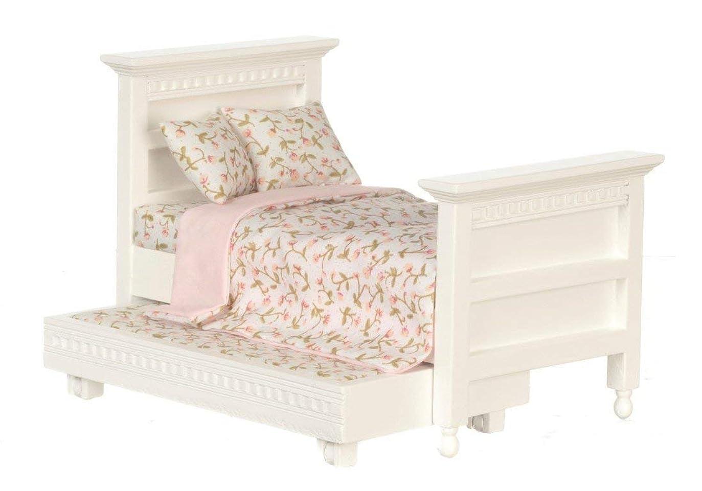 オペラ証言する単なるDolls House Miniature 1:12 Bedroom Furniture White Wood Single Trundle Guest Bed