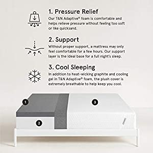 Tuft & Needle Mattress, Queen Mattress with T&N Adaptive Foam, Sleeps Cooler & More Supportive Than Memory Foam Mattress, Certi-PUR & Oeko-Tex 100 Certified, Made in USA, Rated CR's Best Buy Mattress