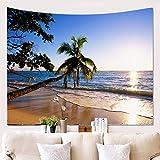 Amiiba - Tapiz de pared para colgar en la playa o en la puesta del sol, diseño de cocotero, decoración del hogar para dormitorio, sala de estar (playa, M - 149 x 129,5 cm)