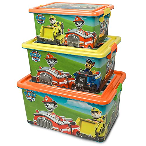 Cajas Almacenaje de Patrulla Canina - BONNYCO | Pack 3 Cajas Organizadoras de Juguetes y Ropa | Set de Contenedores Infantiles en 3 Tamaños - Cajas Almacenaje Plastico para Habitacion Niños y