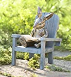 Plow & Hearth Reading Rabbit Outdooor Yard and Garden Resin Animal Statue 5¾ L x 6 W x 9¼ H