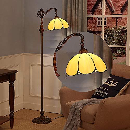WRMING 12W LED Tiffany Stehlampe Dimmbar,Wohnzimmer Standleuchte,Retro Wohnzimmerlampe Einstellbarer,Buntglas Leselampe Tischlampe für Schlafzimmer Studie Restaurant,mit Fernbedienung,E27,e