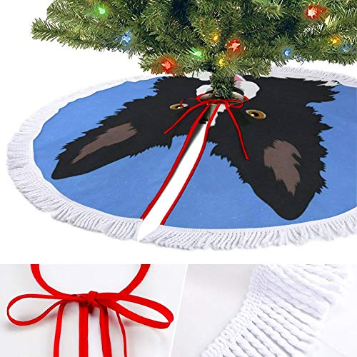 ODOKAY Christmas Tree Skirt Border Collie Dog Holiday Decorations Ornaments Xmas Tree Mat for Party