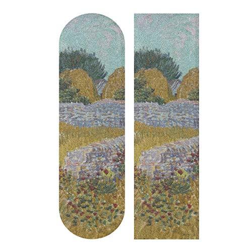 LMFshop 33,1x9,1 Zoll Sport im Freien Longboard Aufkleber Bauernhaus Provence von Vincent Van Gogh Print wasserdicht Skateboard Grip Tape für Mädchen für Tanzbrett Double Rocker Board Deck 1 Blatt