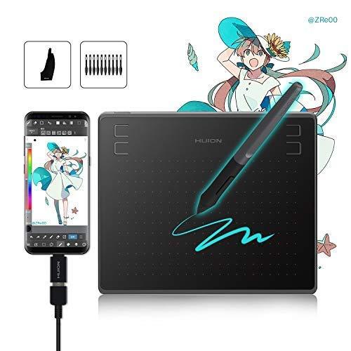 HUION Tableta Gráfica HS64 (Compatible con Sistema operativo Android) Tableta de Dibujo Gráfico de 6.3x4 Pulgadas con Niveles de 8192 Sensibilidad a la Presión del lápiz - Nueva Versión 2019