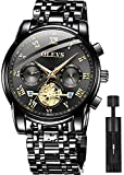 OLEVS Men's Watch Stainless Steel Waterproof Chronograph Luminous Business Casual All Quality Analog Quartz Black Luxury Dress Big Face Wrist Watches