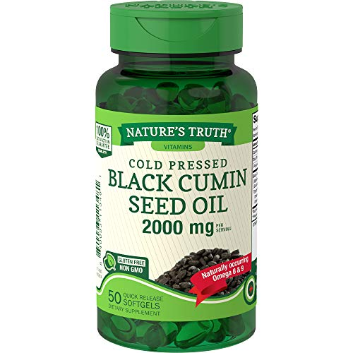 Black Cumin Seed Oil 2000 mg | 50 Softgel Capsules | Cold Pressed Pills | Non-GMO, Gluten Free | by Nature's Truth