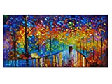 Tyed Art- Contemporary Art Landscape Oil Painting On Canvas Abstract Textured Tree Painting hand-painted acrylic frame wall art modern canvas painting living room bedroom office decoration 24x48inch