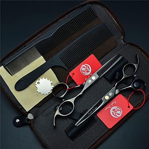 LDLD Juego de Tijeras de peluquería Profesional de 5,5/6,0 Pulgadas, Tijera de Corte de peluquería y Tijera de Adelgazamiento de Peluquero con Bolsa,6.0 Inches
