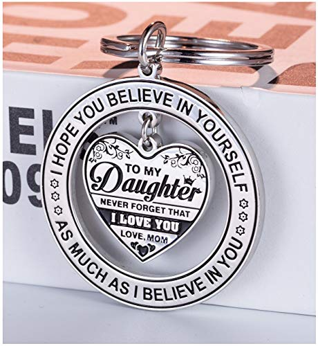 to My Daughter Inspirational Gifts Keychain - I Hope You Believe in Yourself As Much As I Believe in You Encouragement Keyring to Girls - Mother Daughter Stainless Steel Keychain Christmas Gift Ideas