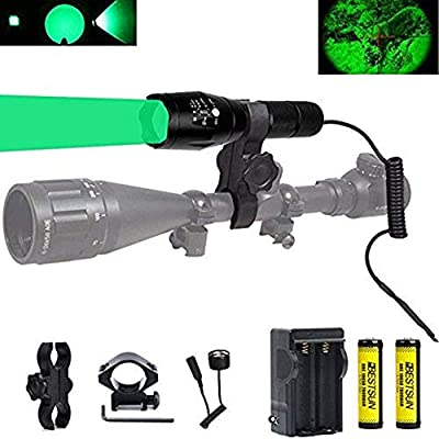 BESTSUN 350 Yards Predator Light Zoomable Tactical Hunting Led Flashlight Coyote Varmint Hunt Torch with Pressure Switch, Rail & Scope Mounts, Batteries and Charger